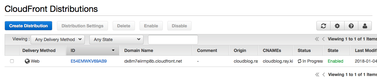 CloudFront distribution status in progress