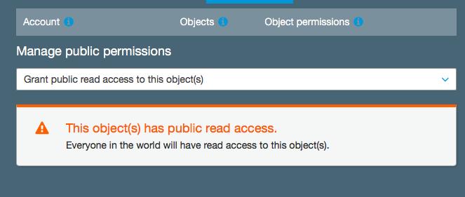 Amazon S3 public permissions