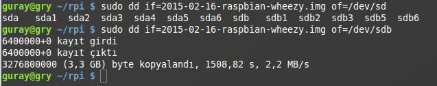 dd ile Raspberry Pi İmajı